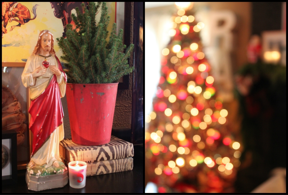 Jesus and the Blury Christmas Tree Collage