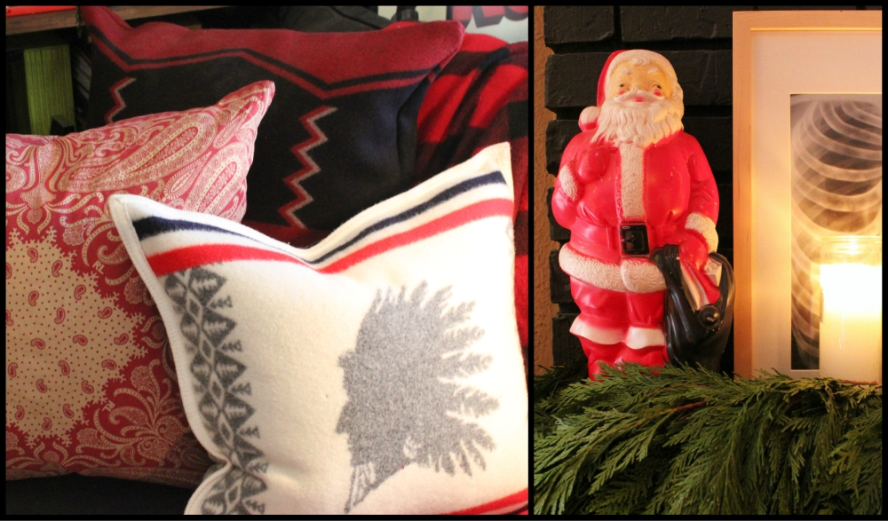 Layered Pillows and Vintage Plastic Santa Light Collage