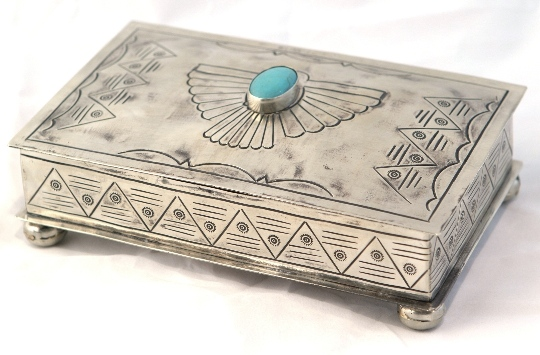 Navajo Style Stamped Rectangular Box with Turquoise