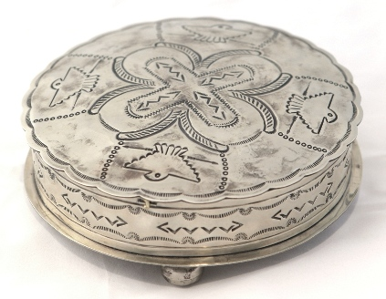 Navajo Style Stamped Silver Round Box