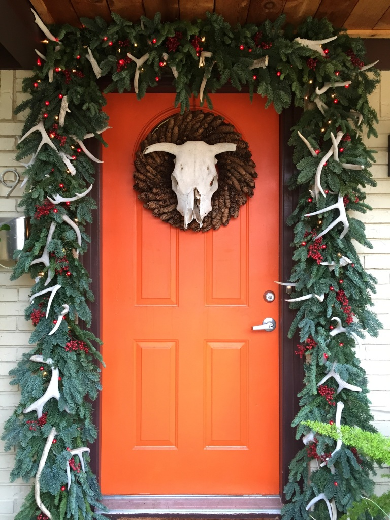 The Cavender Front Door Garland with Antlers December 2014