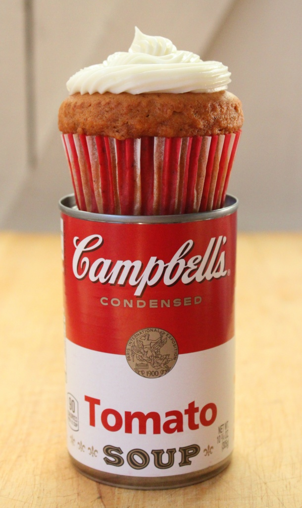 Tomato Soup Cupcake on Top of Soup Can