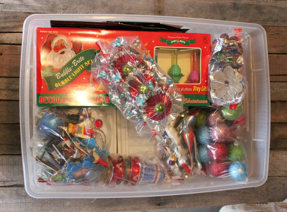 Tub full of Zip-Locked Ornaments for the Christmas Tree