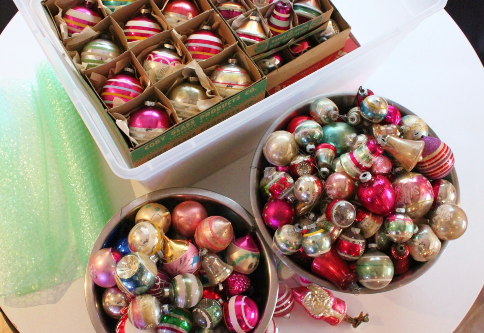 Vintage Ornaments are Stored in Tubs with a Layer of Bubble Wrap Between