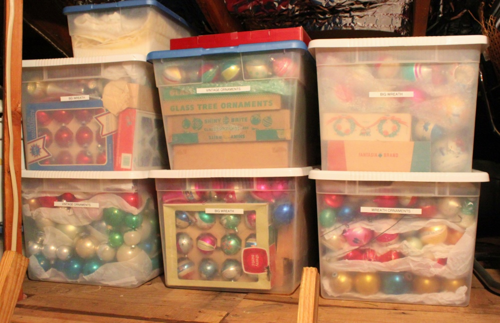 Vintage Ornaments in Tubs are Stacked in the Attic