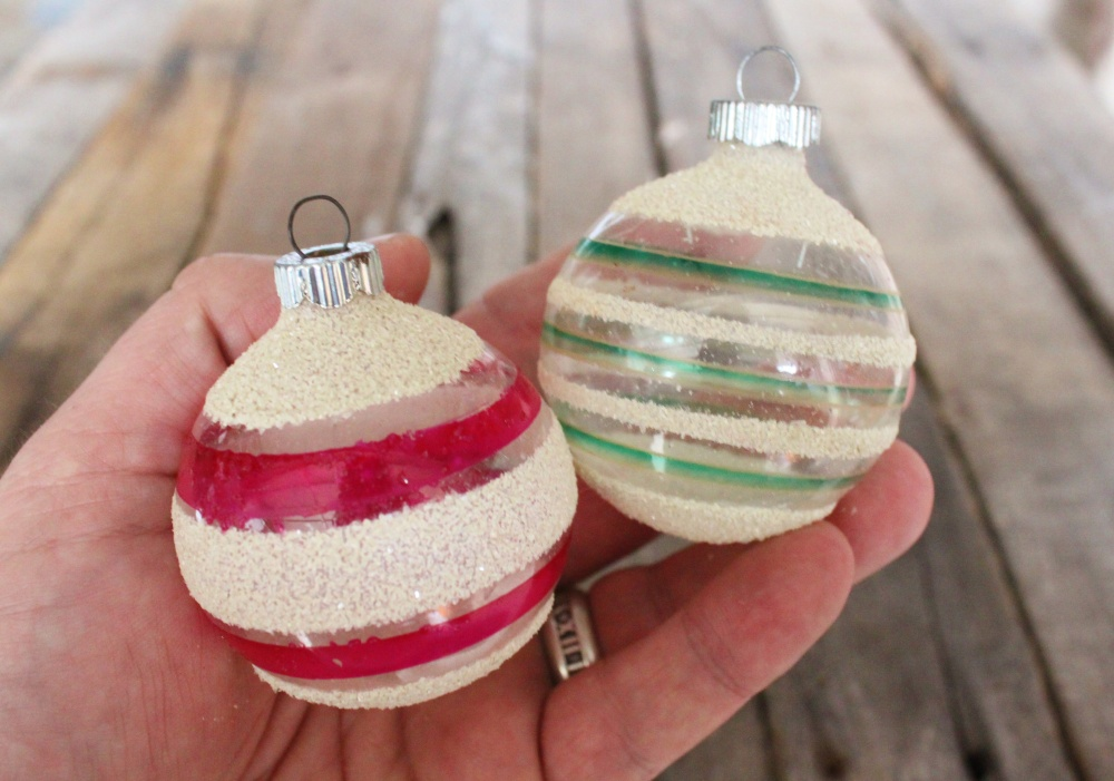 Vintage Shiny Brite Ornaments with No Silvering and Mica Snow Stripes