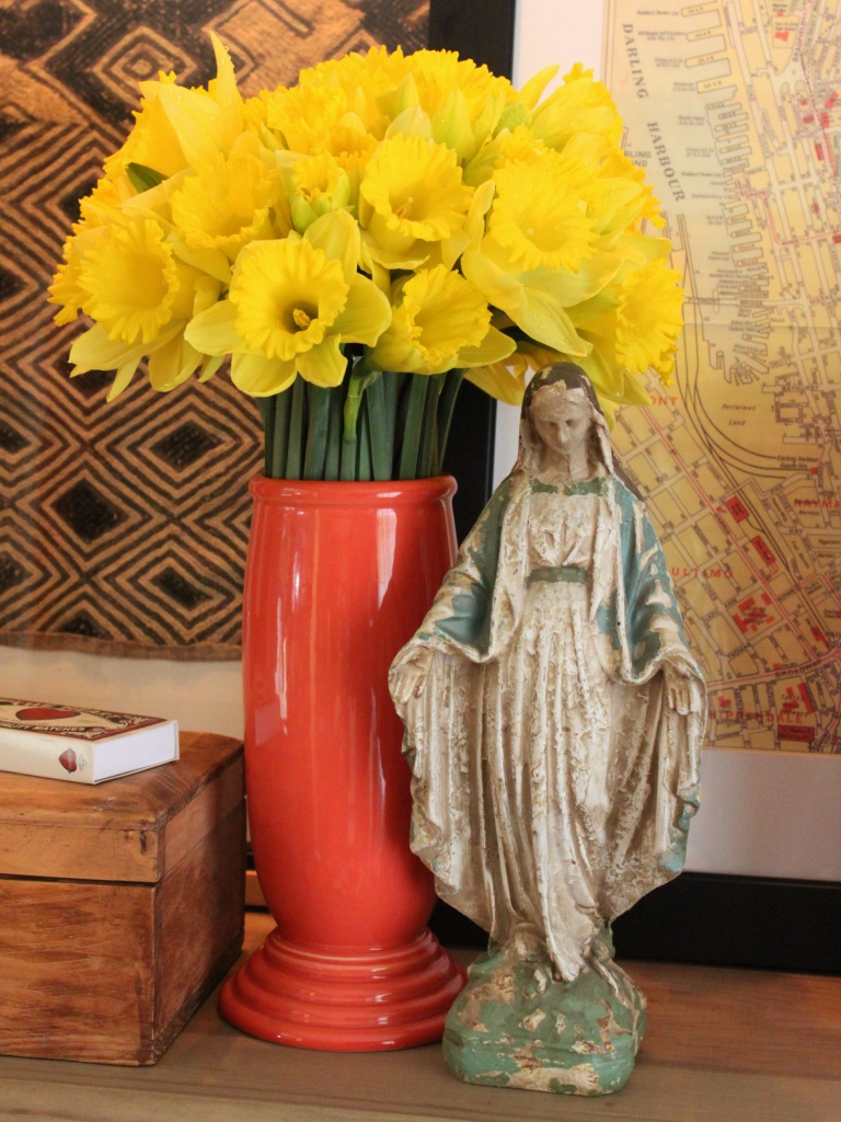Daffodils and Mary in the Living Room