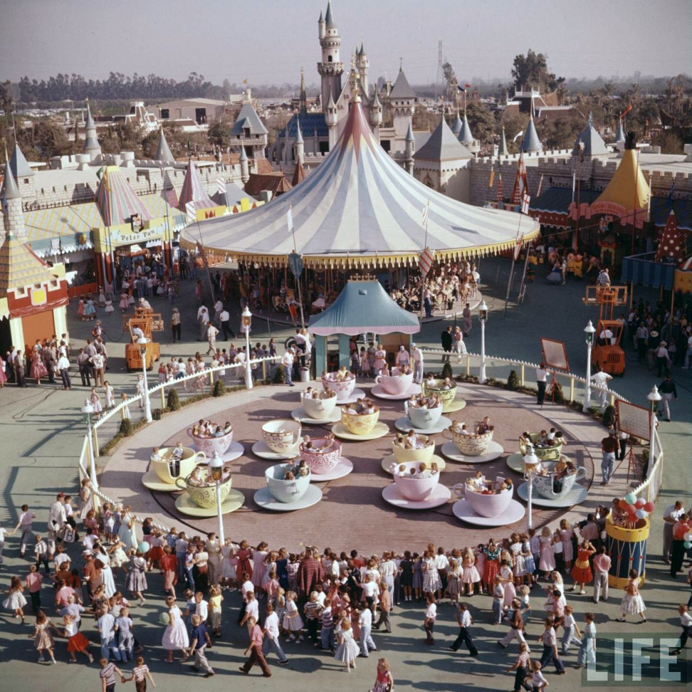 Disney Teacup Ride on Opening Day 1955