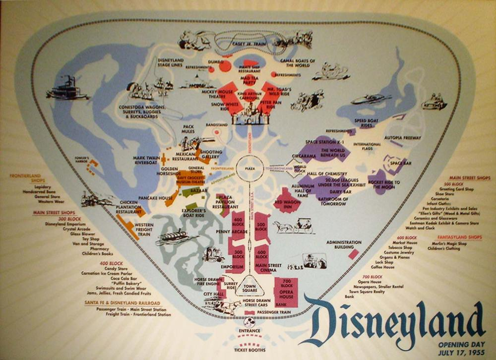 Map of Disneyland on Opening Day 1955