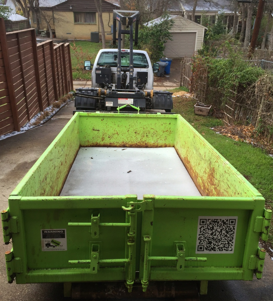 Our NBig Green Dumpster for the Bathroom Tear Out