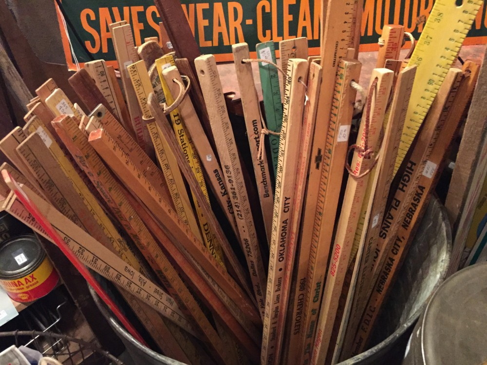 Yard Sticks in a Bucket at Curiosities