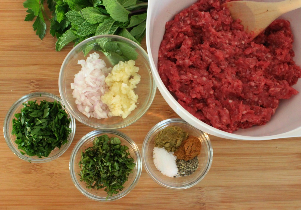 All the Ingredients for Lamb Burgers
