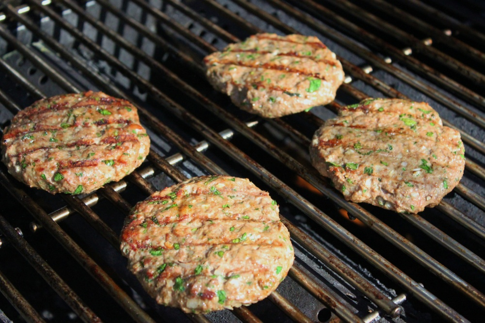 Our Lamb Burgers Cooking in the Grill