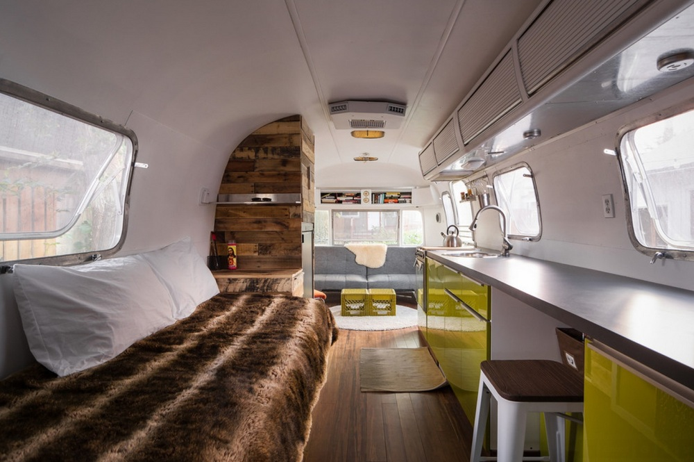 Bed Area of Refurbished Airstream Trailer