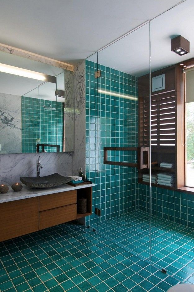Glazed Turquoise Bathroom with Glass Enclosed Shower