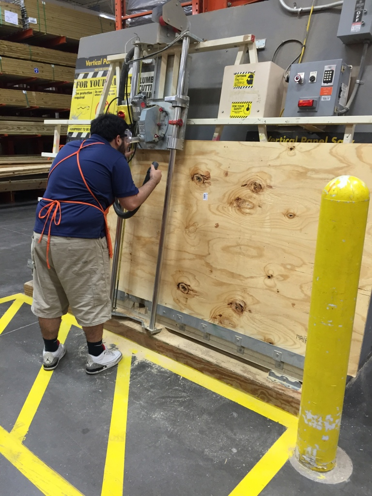 Ismal at H Depot Cutting My Plywood Subfloor
