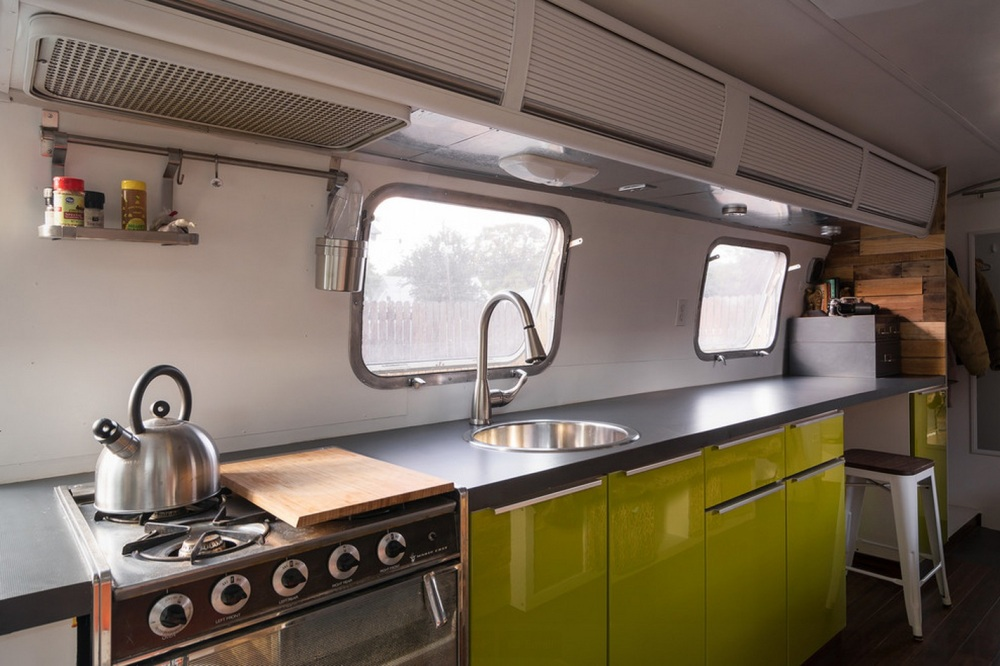 Kitchen area of the Refurbished Airstream