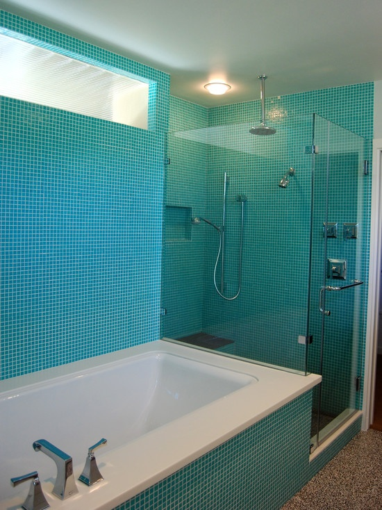 Modern Bathroom with Turquoise Square tiles