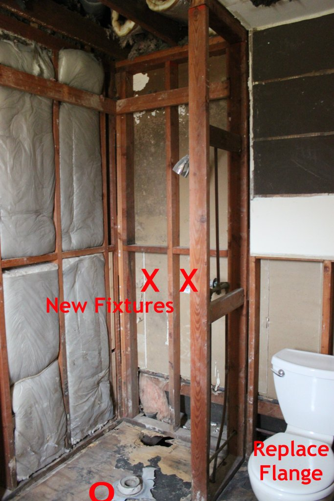 Move the Shower Lines to other Wall and Replace Toilet Flange