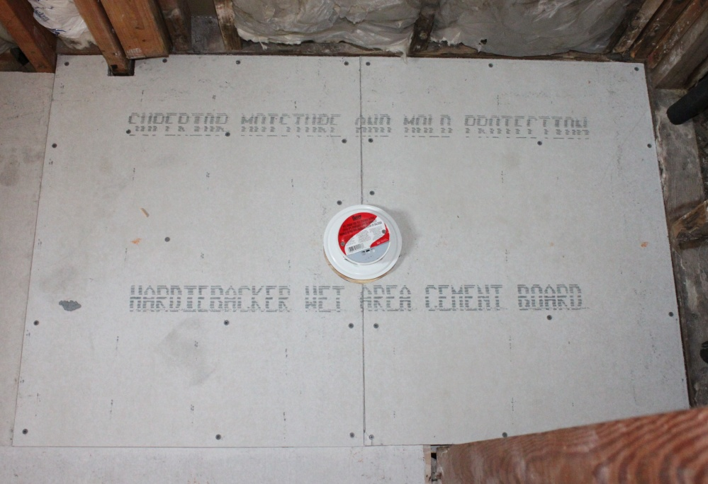 The New Shower Floor with the Cement Board