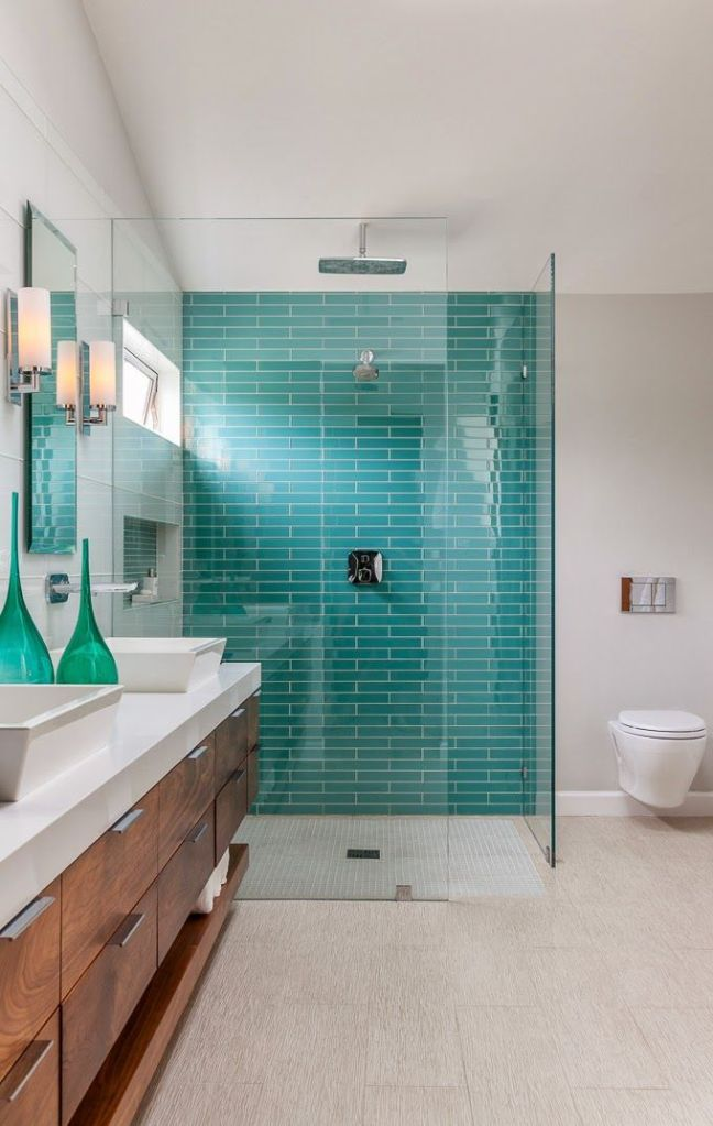 Turquoise Glass Bricks in Shower