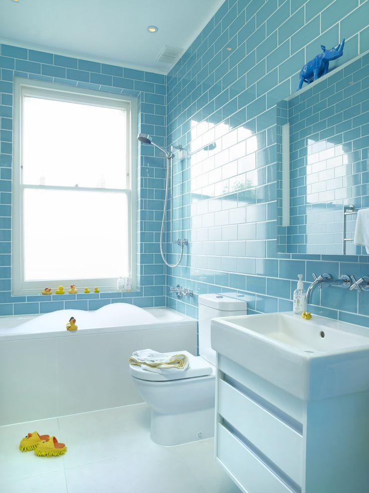 Etonnant Turquoise Tile In Kids Bathroom