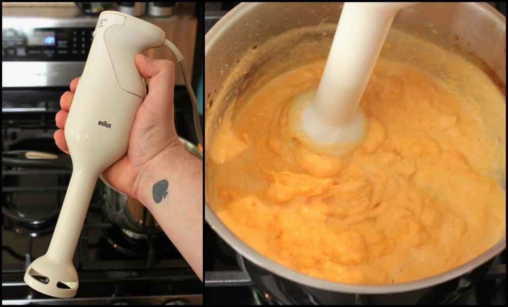 Us ea Handmixer to Completely Break up the Sweet Potato Collage