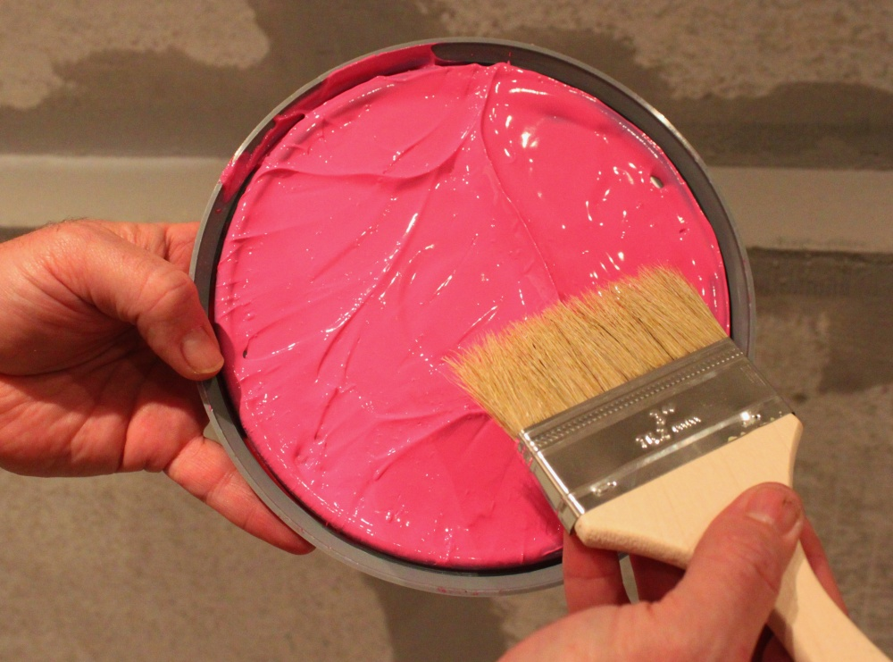 Apply the Pink Water Proofer with a Cheap Ass Brush