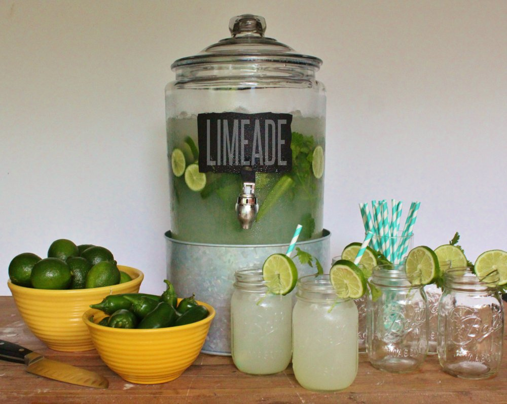 Drink Station with Cilantro Jalapeno Limeade