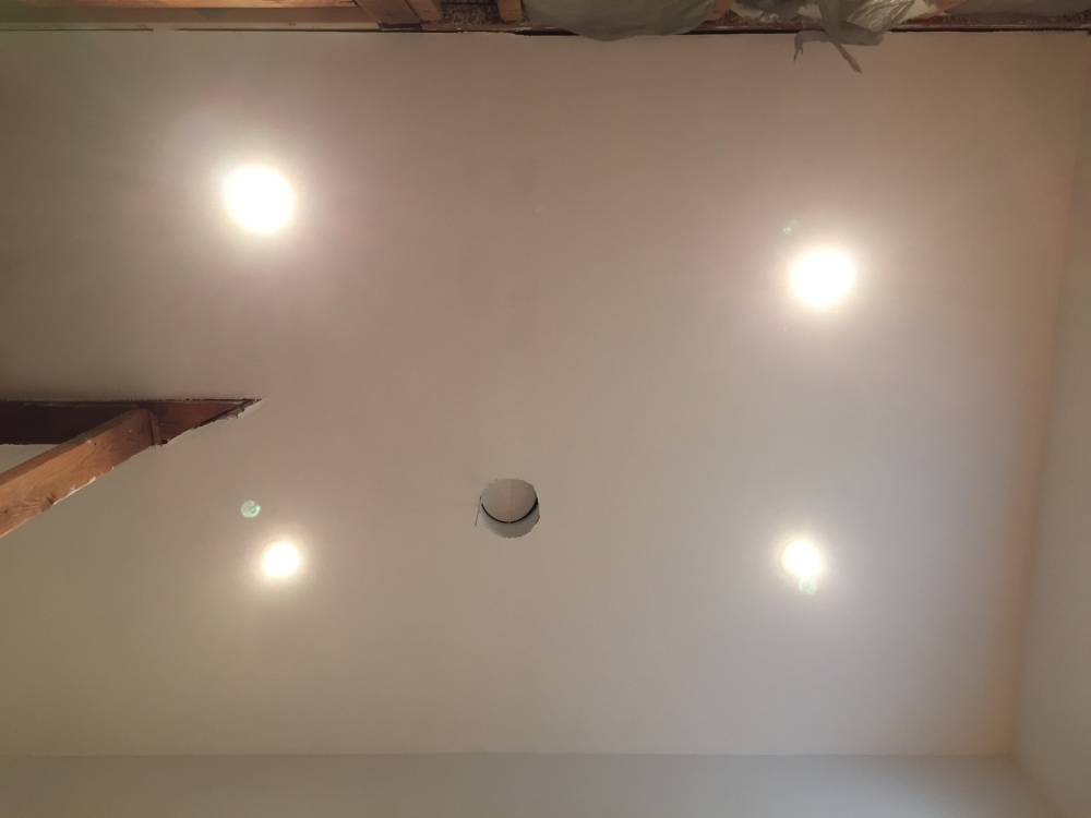 Finished Can Lights in the Master Bathroom Ceiling