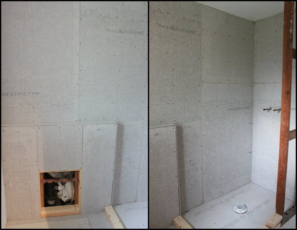The Cement Board is up on the Cavender Master Bathroom Walls Collage