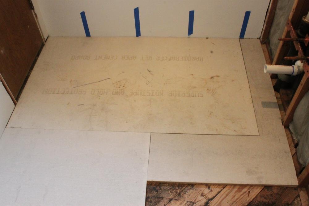 The New Master Bathroom Cement Board Sub-Floor