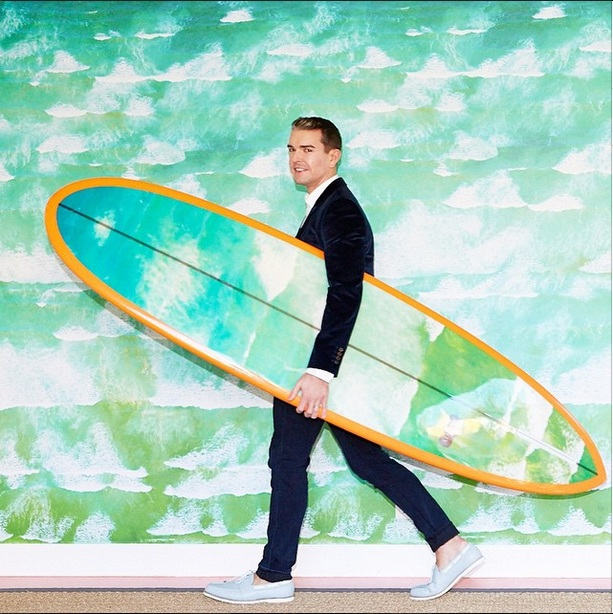 The Photographer Gray Mailn with Surfboard