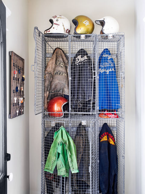 Vintage Lockers Filled with Old Moto Jackets in Mike Wolfe's Home