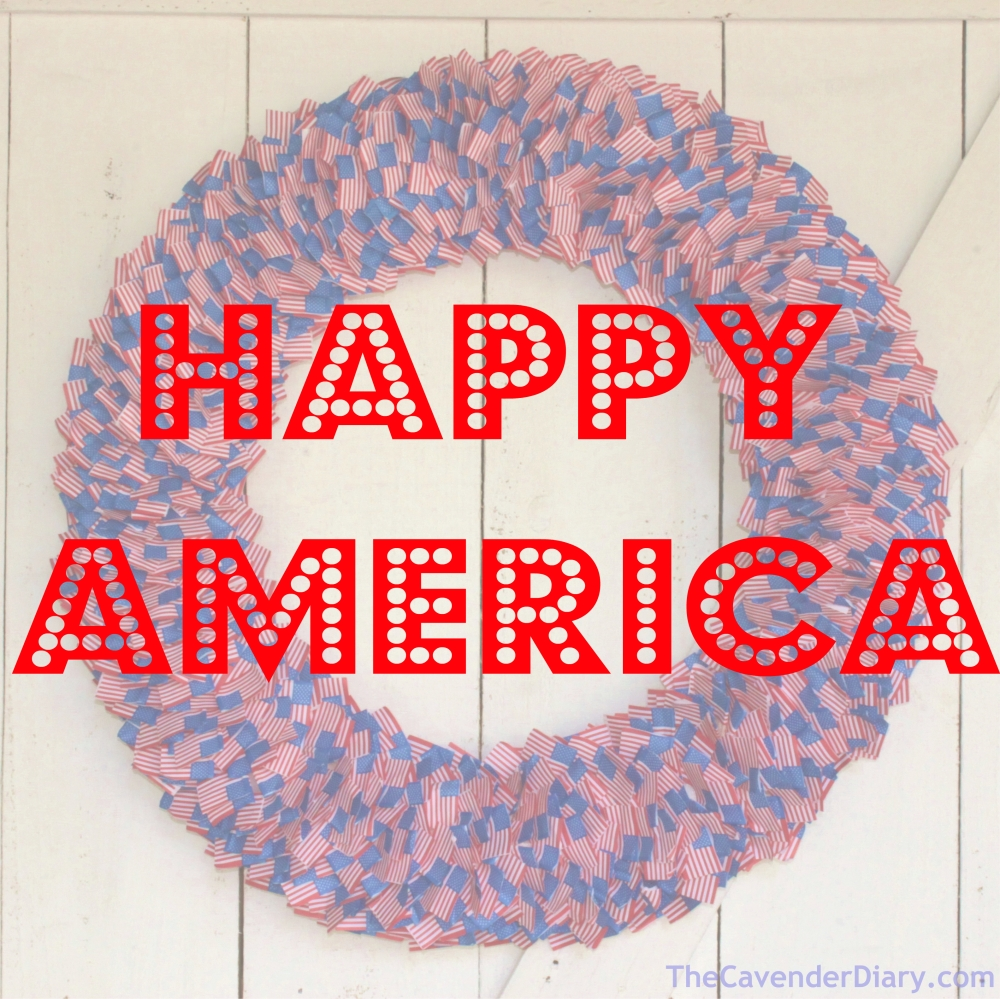 HAPPY AMERICA Over the Finished American Flag Toothpick Wreath from the Cavender Diary