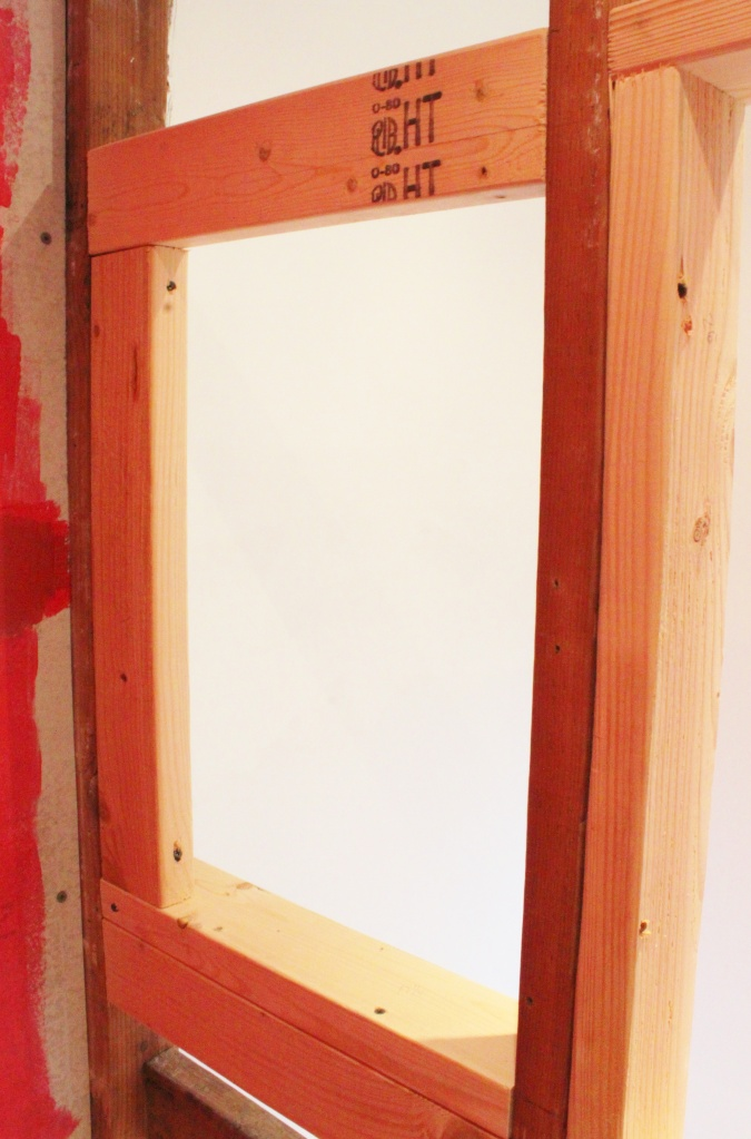 We Built a 2X4 Frame for the Niche in the Non-Dominant Wall