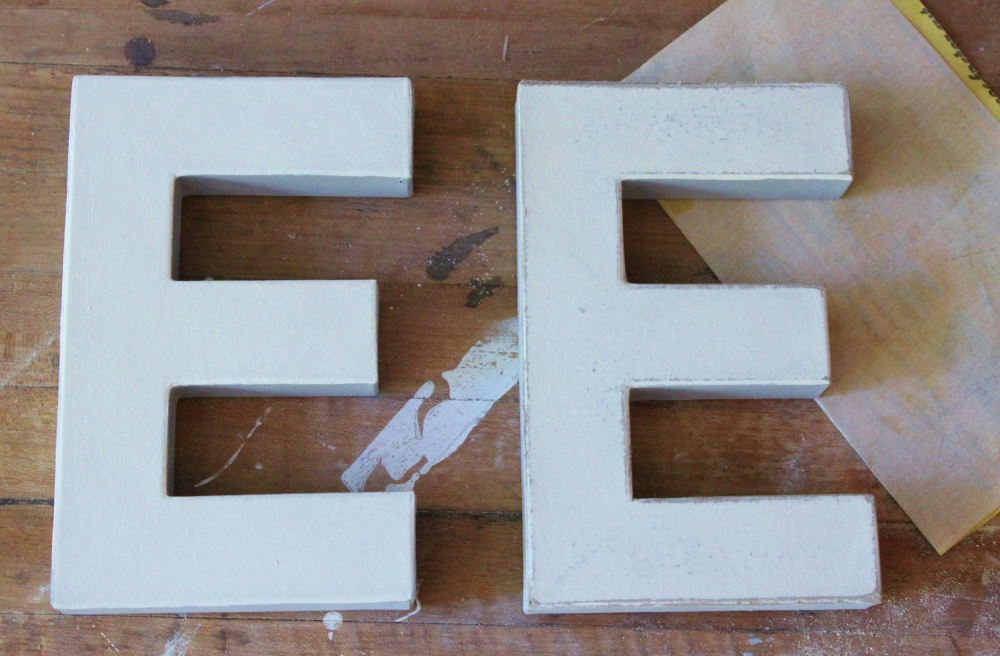 Here's an Un-sanded and a Sanded Letter for Comparison