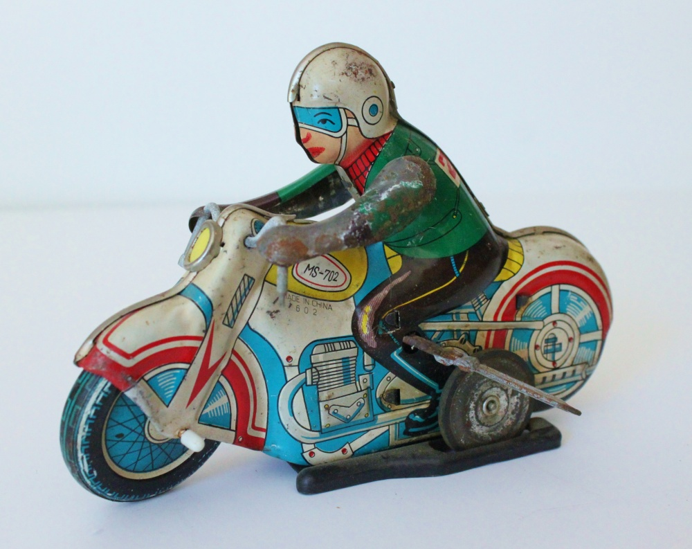 Vintage Wind-Up Motorcycle Toy
