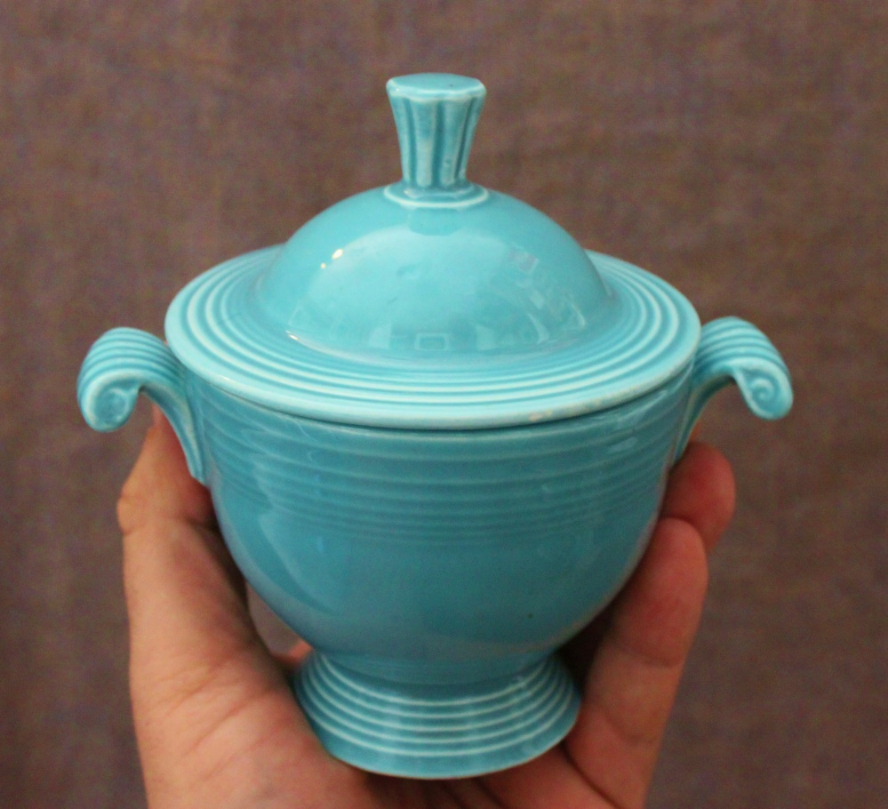 Vintage Fiesta Ware Sugar Bowl as Bathroom Color Inspiration