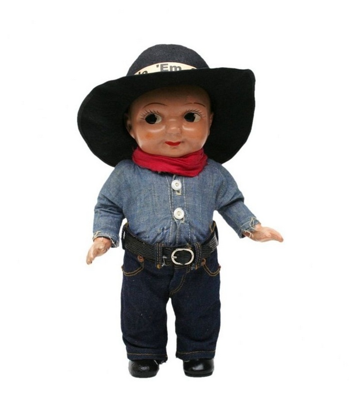 Buddy Lee Doll in Chambray Shirt and Black Hat