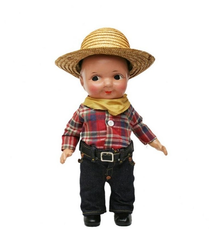 Buddy Lee Doll in Red Plaid Shirt and Straw Hat