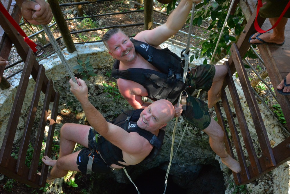 James and Jamie Descending into the Cenote