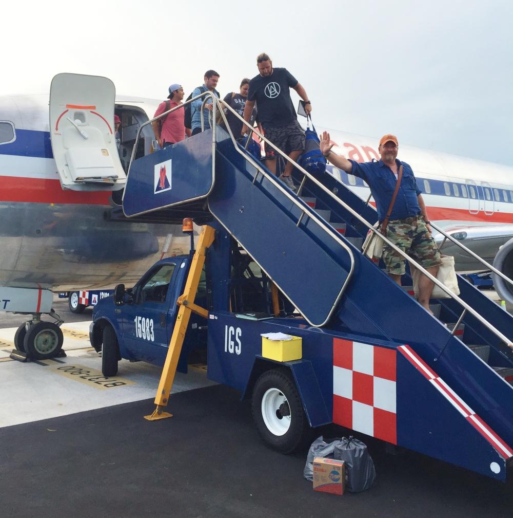 James Evacuating the Plane in Playa del Carmen