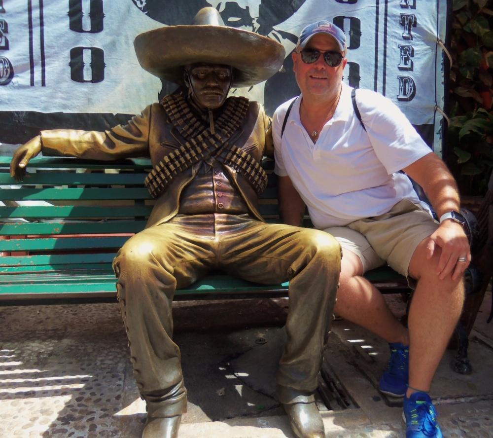 Jamie and Pancho Villa on the Playa del Carmen Street