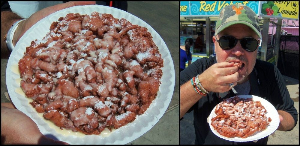 Red Velvet Funnel Cake Collage