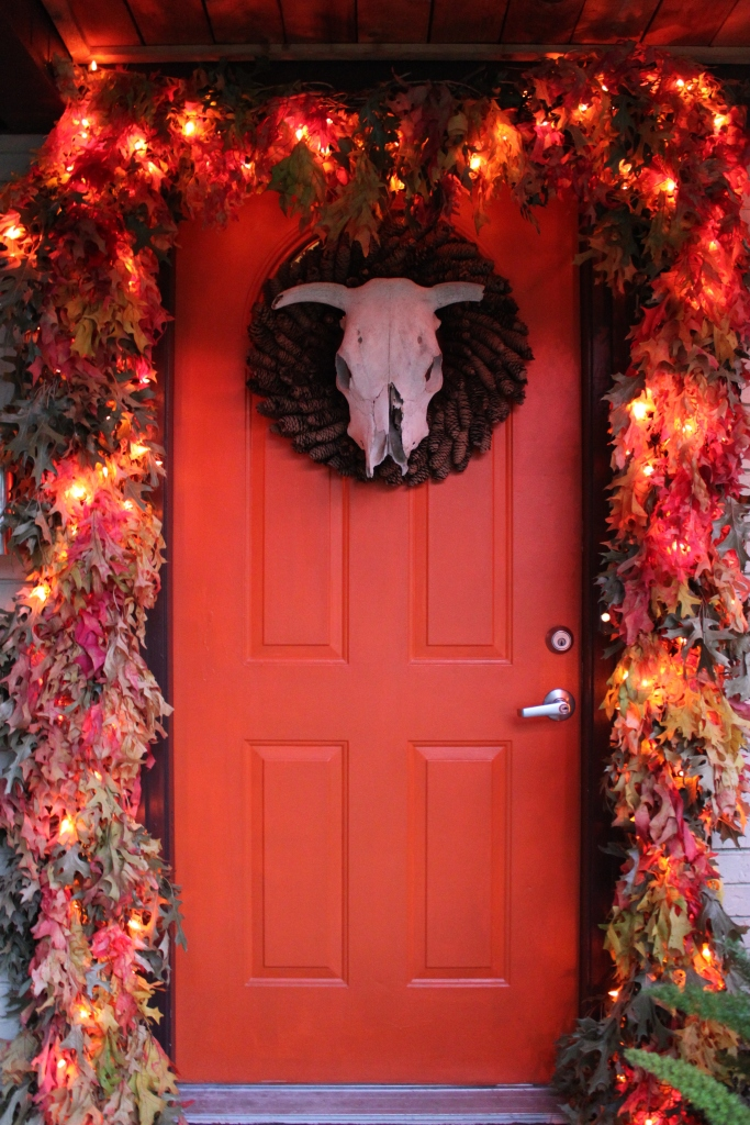 The Cavender Front Door withthe Leaf Garland Around it