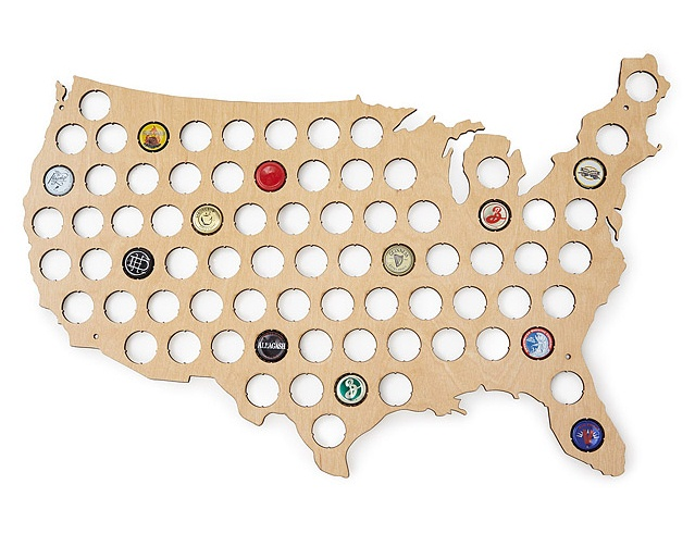 Beer Cap Map USA from Uncommon Goods