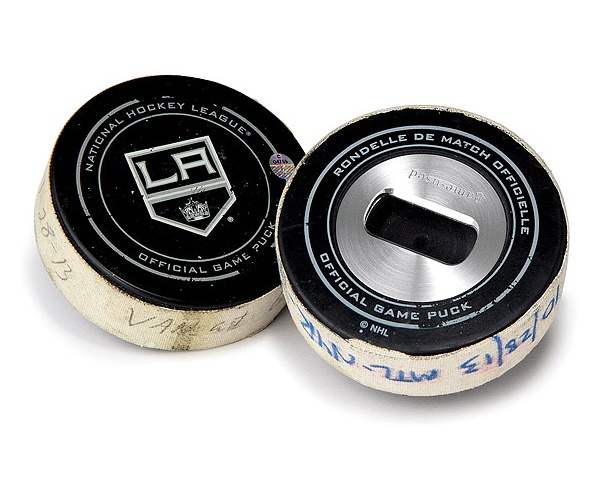 Game Used Hockey Puck Bottle Opener from Uncommon Goods