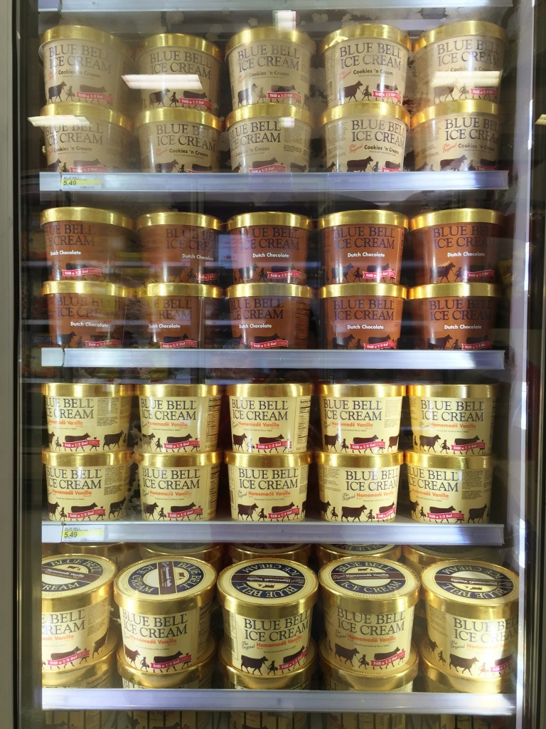 Store Freezer Filled with Blue Bell Ice Cream