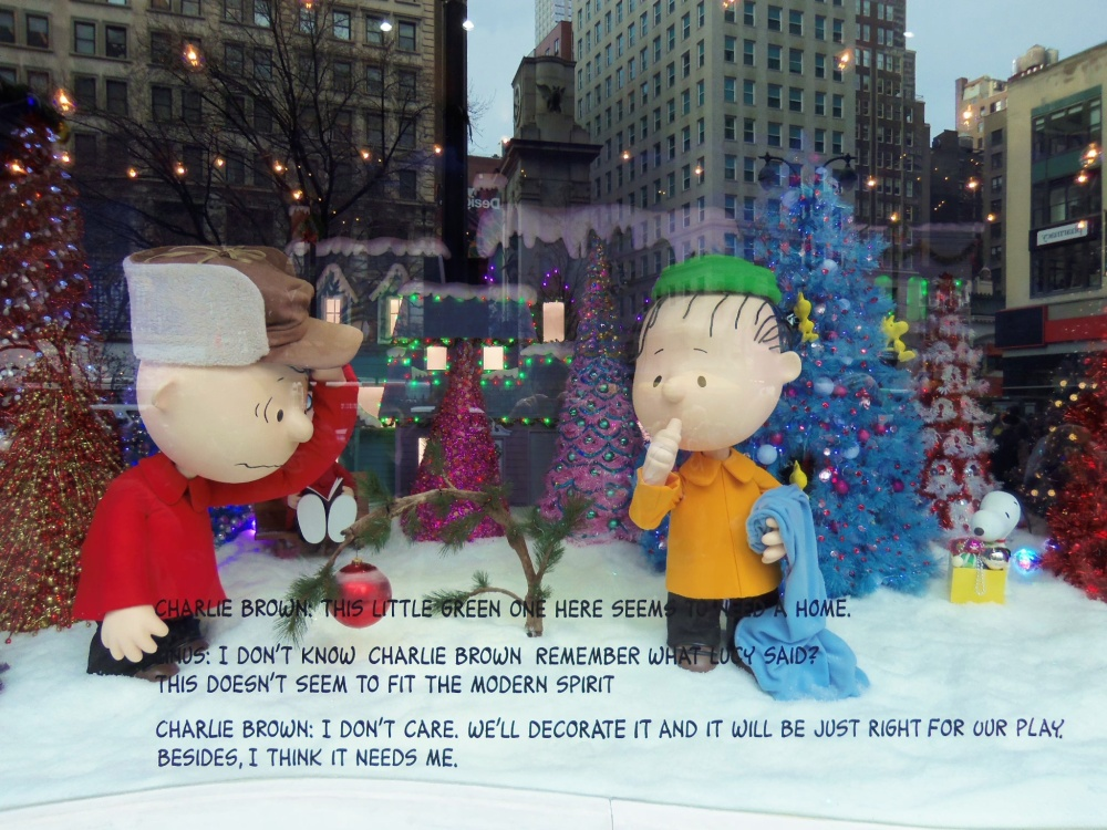 Charlie Brown's Christmas Tree Window at Macy's